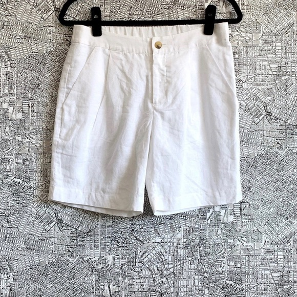 Anthropologie Pants - Corey Lynn Calter White Linen Pleated Front Shorts